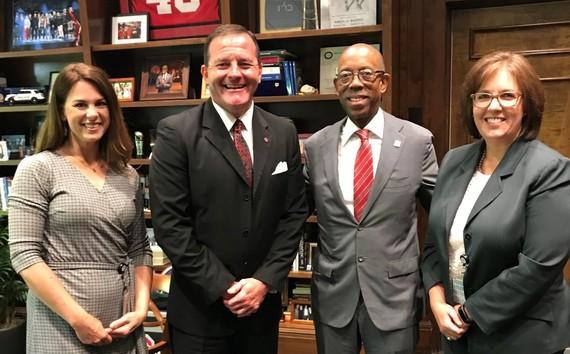 Photo of Director Miller, Deputy Director Kristen Ballinger, OSU President  Michael Drake and Deputy Director Susan Pugh