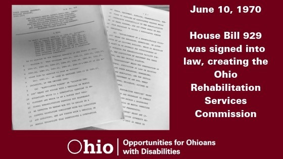 Graphic about HB 929 Creating Ohio Rehabilitation Service Commission