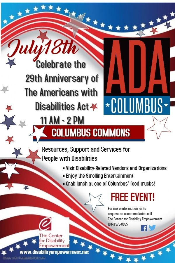 ADA Graphic about Celebration Event on July 18, 2019 in Columbus