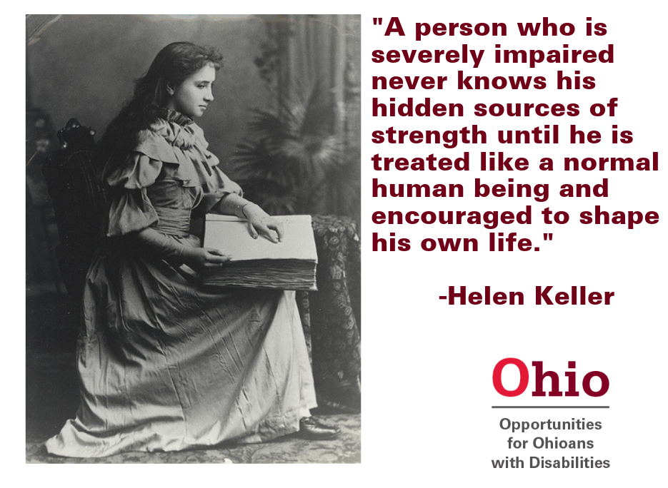 black and white photo of a young Helen Keller and a quote
