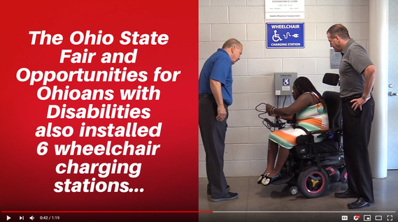 Director Miller with State Fair General Manager Virgil Strickler observing young woman using wheelchair charging station at the State Fair