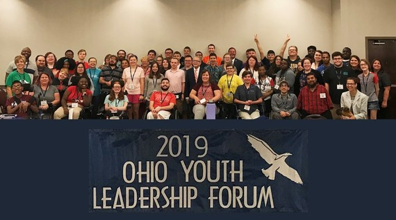 Photo of all 2019 Youth Leadership Delegates with Governor Mike DeWine at Embassy Suites in Columbus.