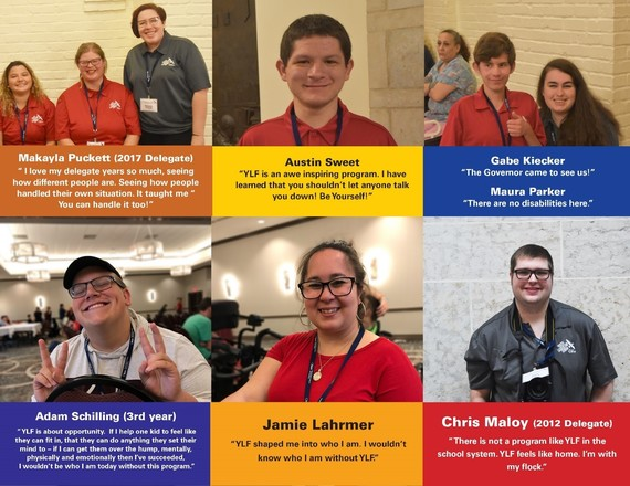 A photo collage of six YLF delegates and quotes about their experience at YLF