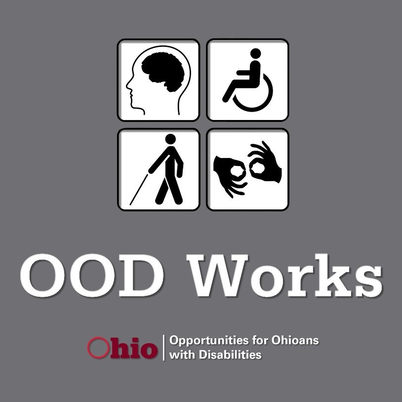 OOD Works Podcast Logo features a brain, wheelchair, cane, and sign language