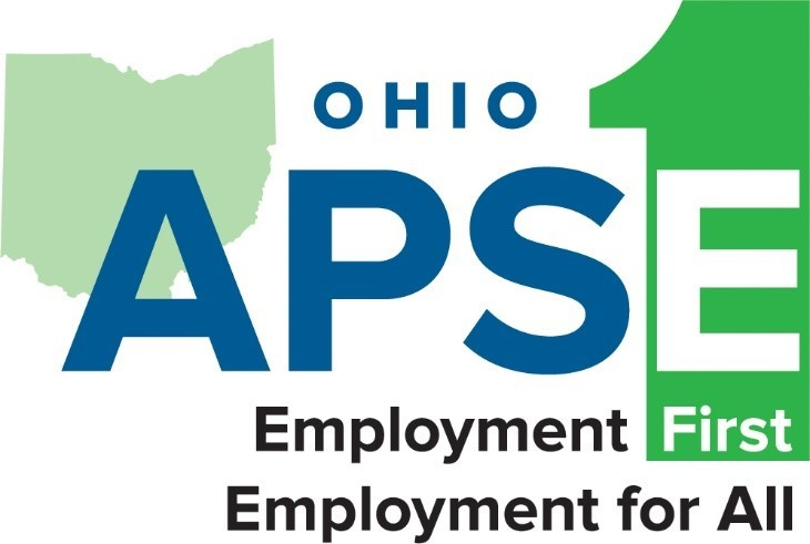 "logo ""Ohio APSE Employment First Employment for All"" with Ohio shape and #1 shape"