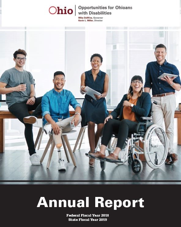 Photo of OOD's Annual Report  Cover featuring five people with disabilities