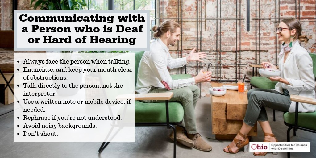 Graphic picture of man and woman sitting, smiling with words describing how to communicate with a person who is deaf or hard of hearing