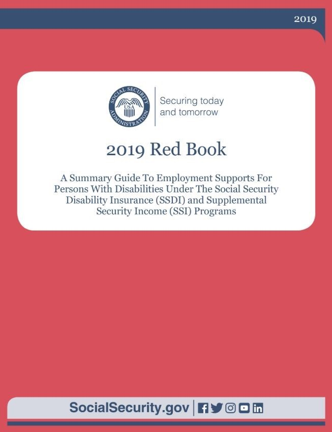 graphic of a red book with the Social Security administration logo and 2019 Red Book