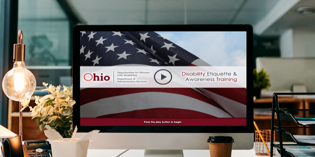 Graphic depicting front page of Disability Awareness Training on a computer screen