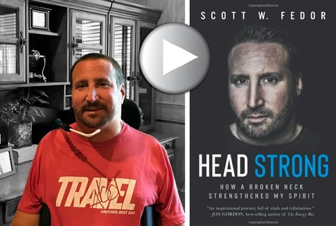 Photo of Scott Fedor in his home in Cleveland and  photo of his book Headstrong