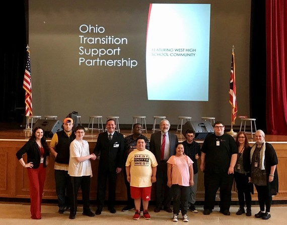 Photo of everyone with OTSP announcement at West High School