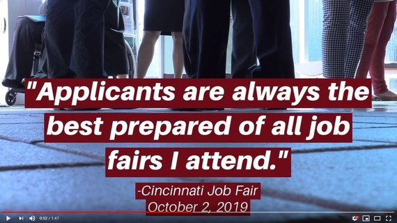 "photo of legs and feet at recent job fair with graphic quote ""Applicants are always the best prepared of all job fairs I attend."""