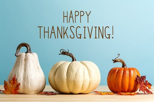 Image of three pumpkins and the words Happy Thanksgiving