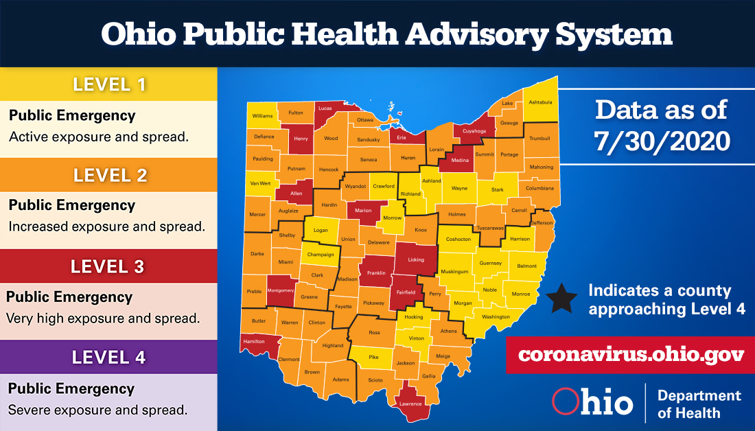 Health Advisory Map Updated July 30, 2020