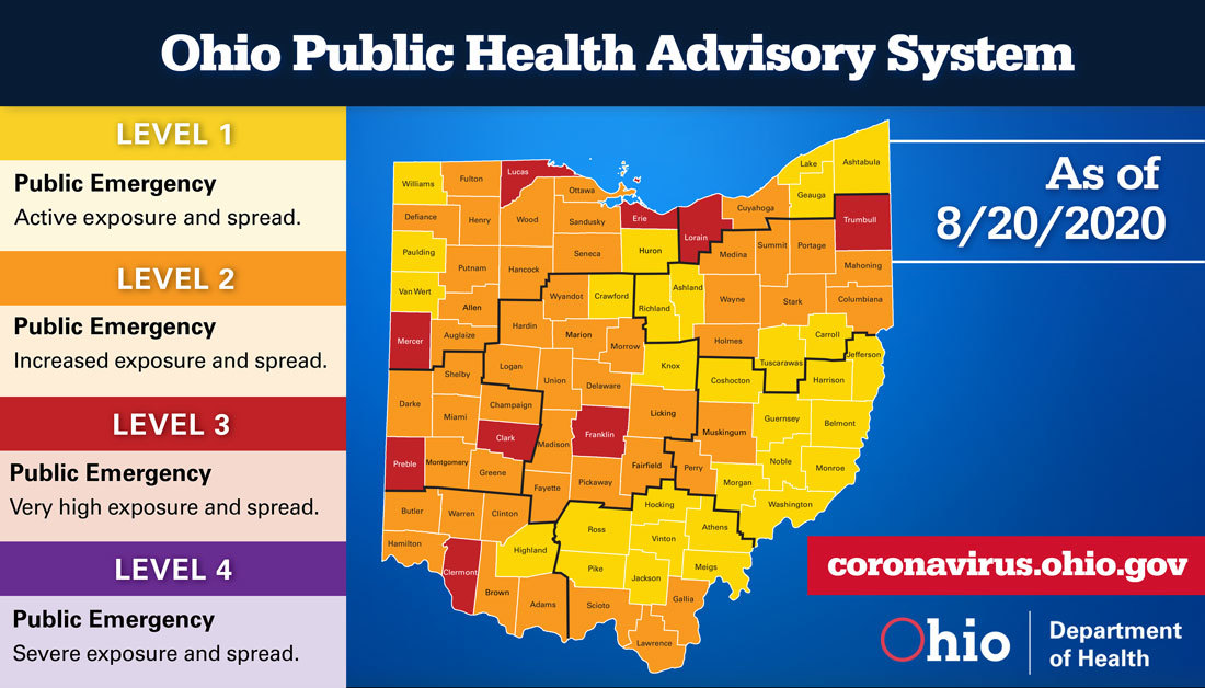 Advisory map for 8/20/20