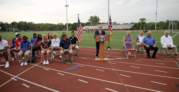 Governor Dewine joins student athletes and coaches to speak at an event encouraging individuals to get vaccinated against COVID-19