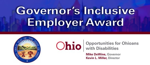 Governor's Inclusive Employer Award, the Great Seal of the State of Ohio and the OOD logo