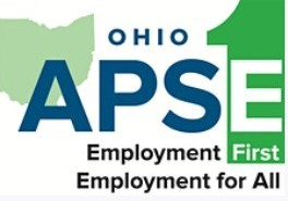 Green and white graphic with text Ohio APSE Virtual Academy Employment First Employment for All