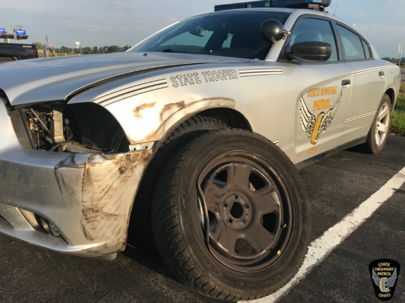 patrol car struck