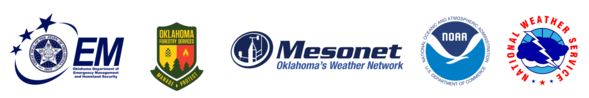 Logos of ODEMHS, OFS, Oklahoma Mesonet, NOAA and NWS