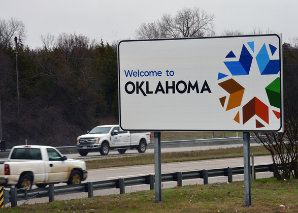 New Oklahoma welcome sign