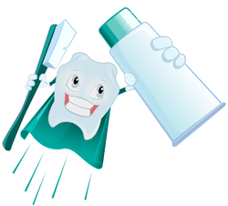 tooth wearing a cape and holding a toothbrusth and toothpaste