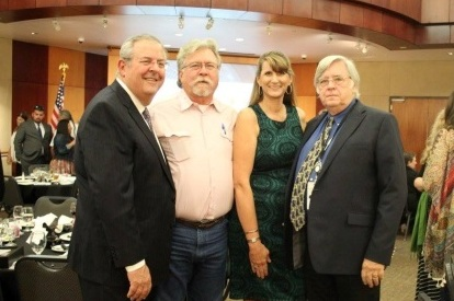 From left – Greg Reid, NRP, Robert Irby, NRP, Rebecca Williamson, RN, NRP and president of OKAMA, and Evans.