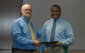 File photo: Dr. Leon Bragg receives his state longevity award (undated)