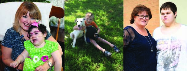 banner picture of mother holding infant, boy hugging his dog and mother standing next to autistic daughter