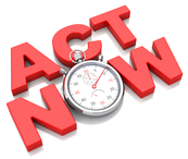 "Illustration of stopwatch that reads, ""Act now"""