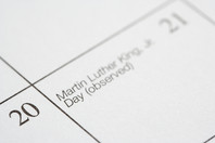 Close up of calendar displaying Martin Luther King, Jr. Day