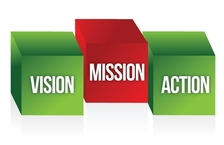 Mission, Vision and Action - Symbolizing the building blocks of Strategy