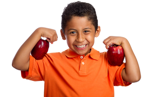 Apples help the body ... and teeth ... stay strong!
