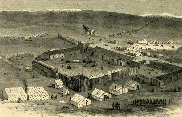 Engraving of bird's eye view of Fort Supply Oklahoma