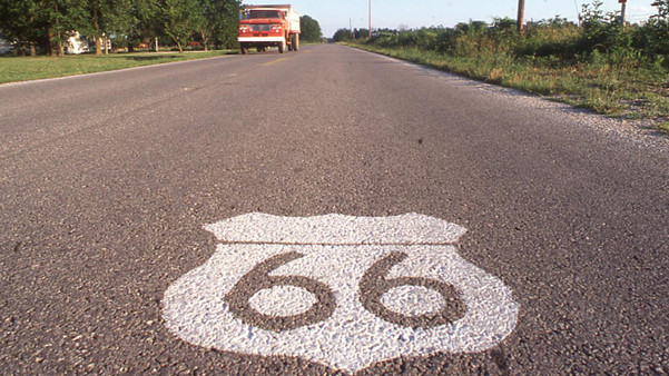 Route 66 emblem painted on roadway
