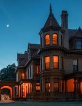Overholser Mansion at night