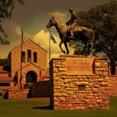 Will Rogers Memorial Museum in orange light