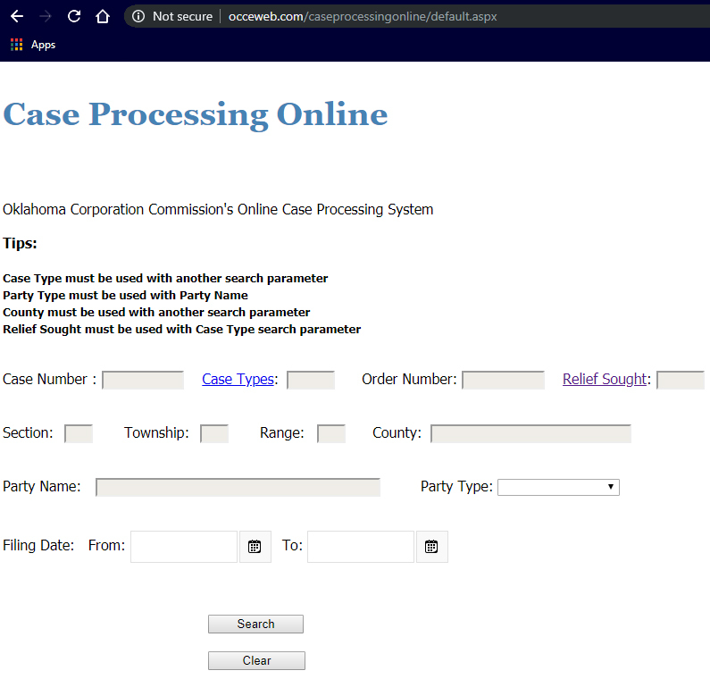 Screenshot of Case Processing