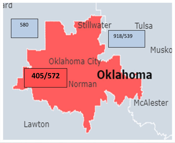 Map of area codes in central Oklahoma