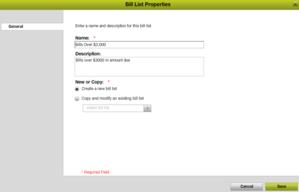 Bill list properties
