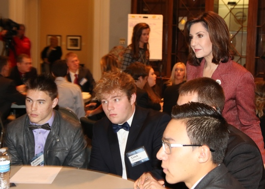 State Superintendent of Public Instruction Joy Hofmeister listens to ideas from her Student Advisory Council at the State Capitol in January.