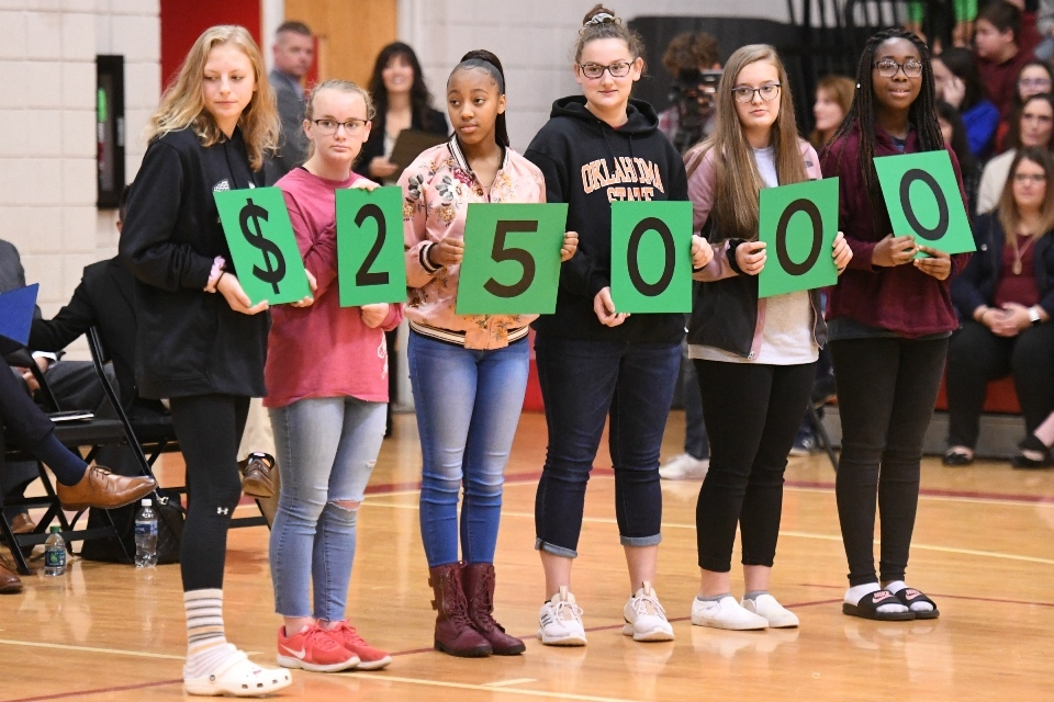 Kids holding up numbers that read $25,000