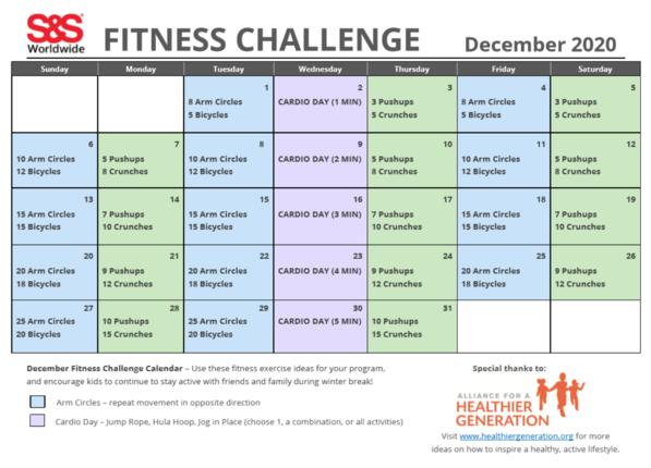 December Fitness Challenge Calendar