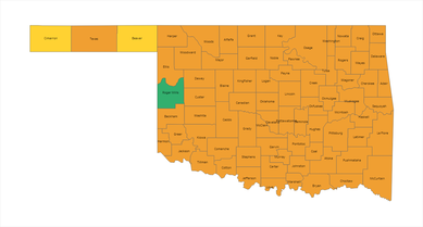 Oklahoma County Risk Level Map 02-12-21