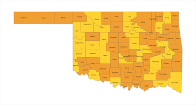 Oklahoma County Risk Level Map 02-25-2021