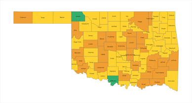 Oklahoma Risk Level Alert Map 03-04-2021