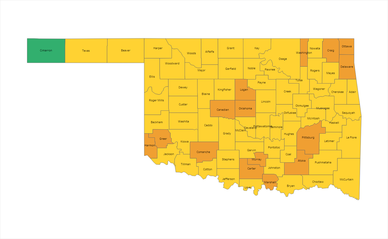 Oklahoma Risk Level Alert Map 03-16-2021
