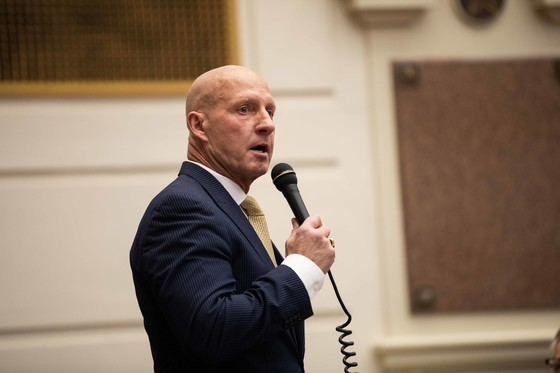 CUTLINE:  Sen. Darrell Weaver, R-Moore, presents SB 834