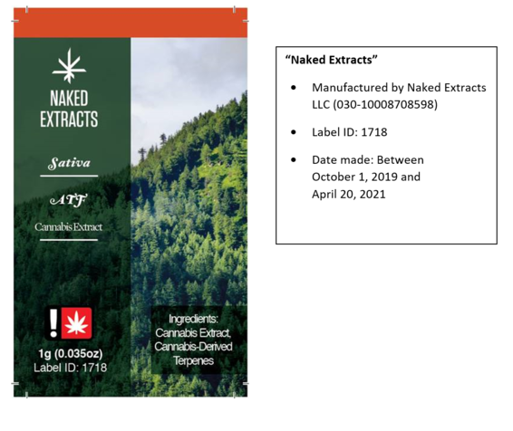 Naked Extracts label recall