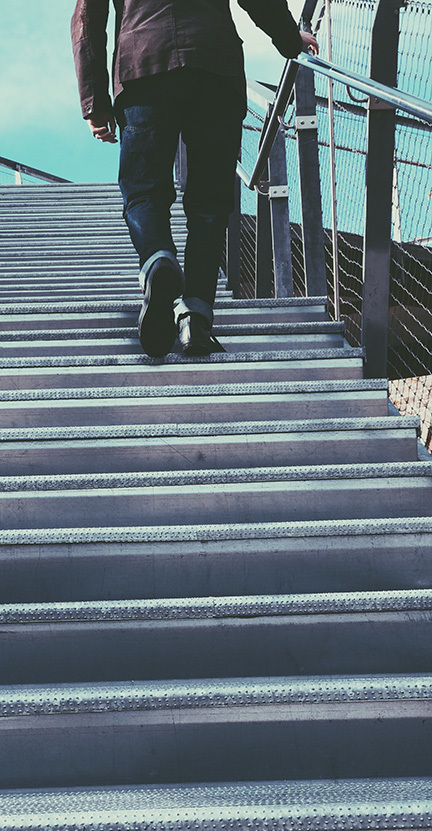 man walking on stairs